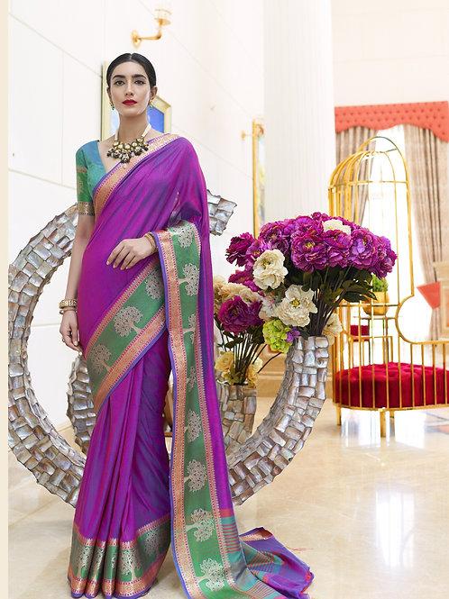 Vintage - Kundan Handloom Weaving Silk Saree