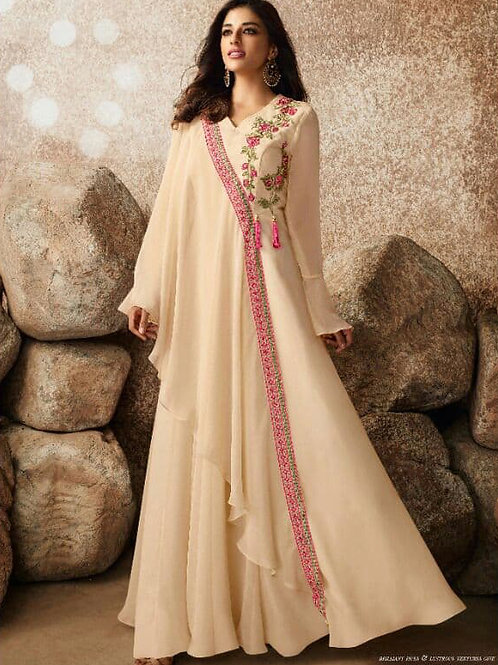 Magistic Pearl Yellow Heavy Fox Georgette Gown