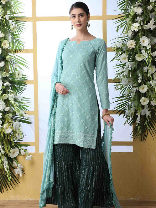 Flory Gorgeous Mint Green Sharara Suit with Dupatta