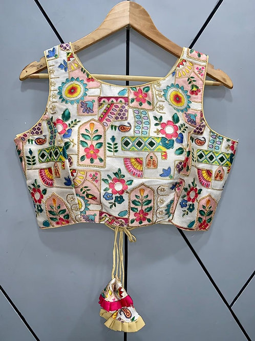 Floral Digital Designer Thread Work Blouse 09