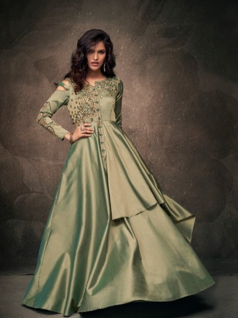 Exora Hue Green Partywear Vtriva Satin Gown With Embroidery Work - D.No 1204