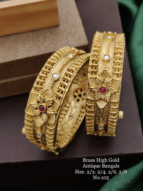Brass High Gold Antique Bengles Red-White Stone No 105