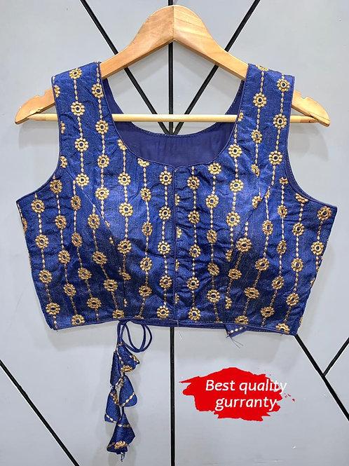 Designer Embroidery Fantom Silk Indigo Blouse