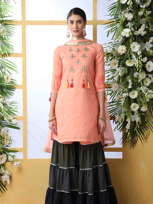 Flory Classic Peach Sharara Suit with Dupatta