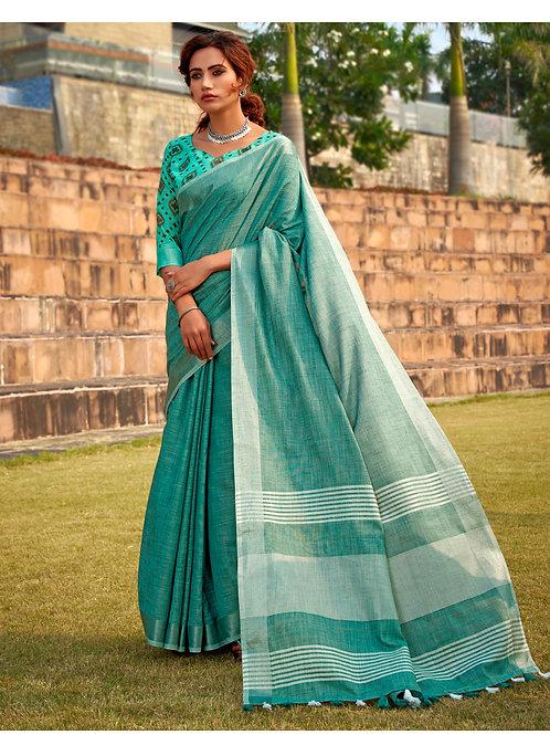 Abhirupi Soft Linen Khadi Silk Aqua Blue Saree