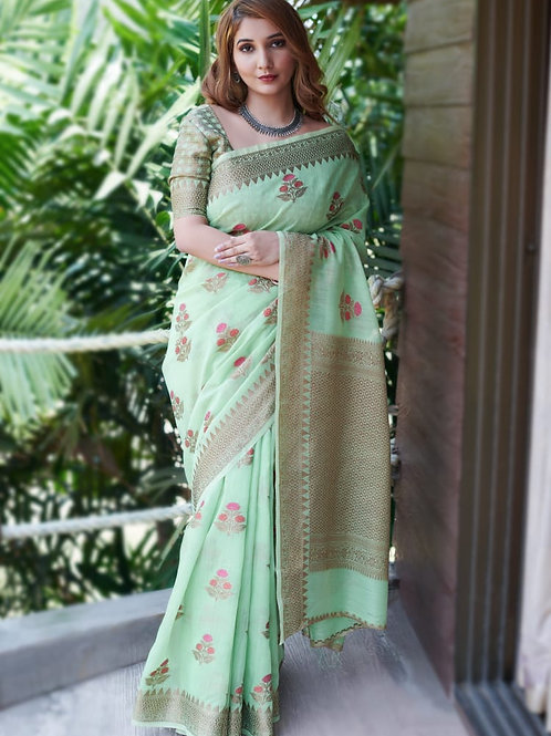 RUCHI -  Exora Green Soft Linen Saree