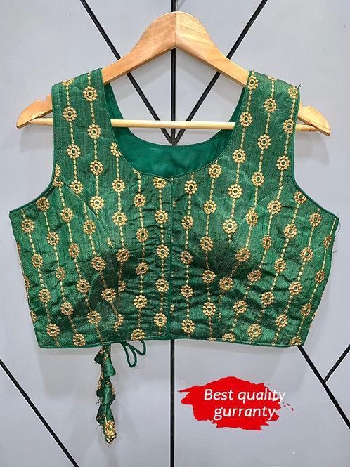 Designer Embroidery Fantom Silk Green Blouse