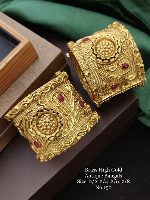 Brass High Gold Antique Bengles Broad Patla No 150