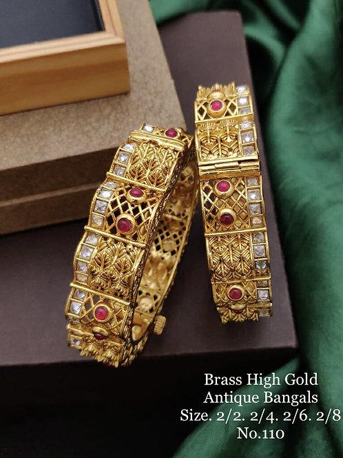 Brass High Gold Antique Bengles No 110