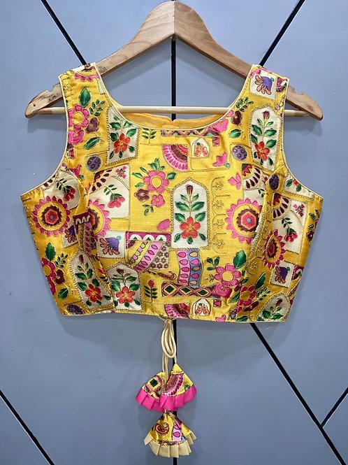 Floral Digital Designer Thread Work Blouse 11