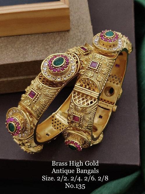 Brass High Gold Antique Bengles Jadau Stones No 135