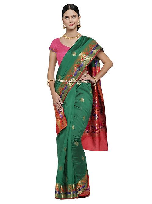 Tradition Kanchipuram Bottle Green - Rocket Silk Saree