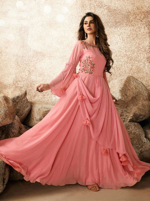 Trendy Blushing Pink Heavy Fox Georgette Gown