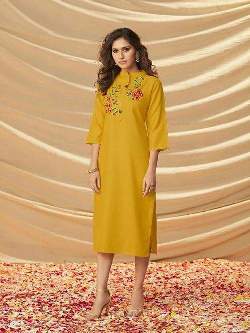 AMYRA - Rooby Slub With Embroidery Work Yellow Kurti