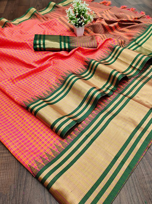 Cotton Silk Saree with Weaving Jari Border Hot Red