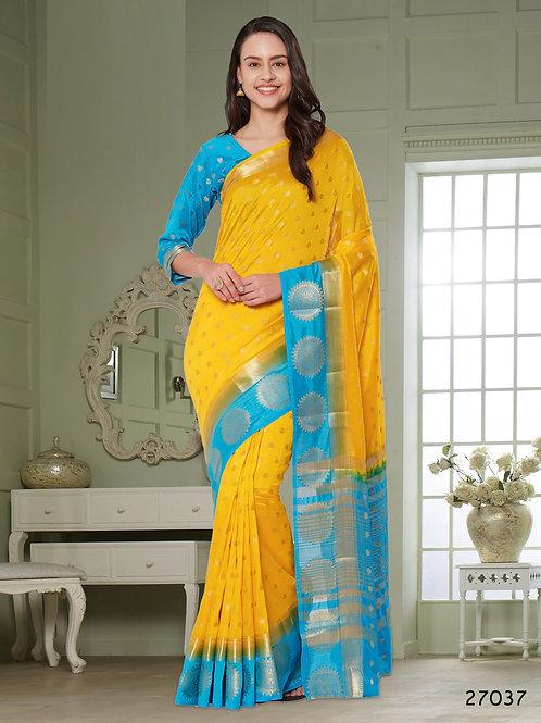 Yellow Blue Raw Silk Saree with Blue Border