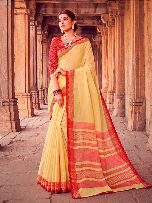 SOFT LINEN SILK YELLOW SAREE WITH BEAUTIFUL BLOUSE + WEAVING LACE