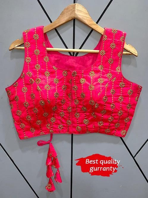 Designer Embroidery Fantom Silk Pink Blouse