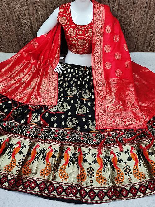 Striking Banarasi Black Lehenga