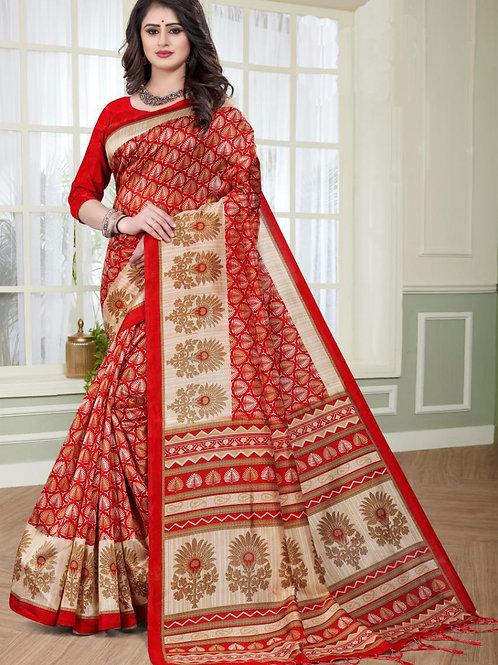 Stardom Mysore Silk Red Saree v2
