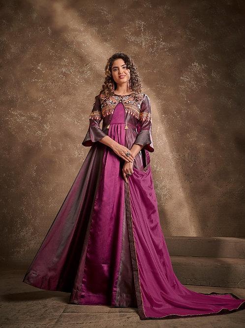 APSARA - Beautiful Silk Heavy Embroidery Megenta Gown