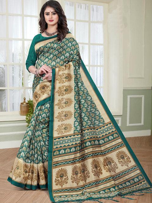 Stardom Mysore Silk Green Saree v2