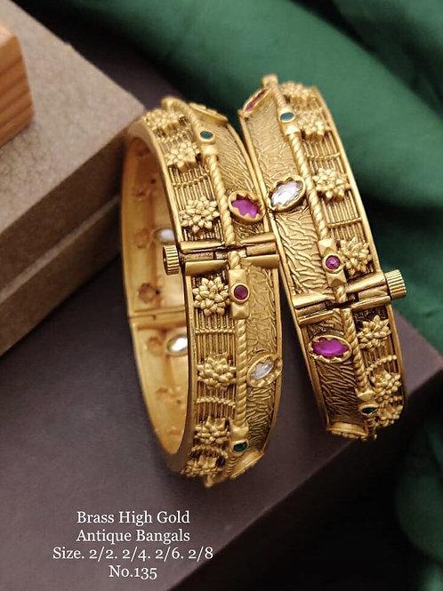Brass High Gold Antique Bengles No 135