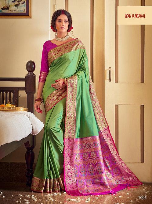 Rangoli Soft Silk Bahurani Collection - Fiesta Green Saree
