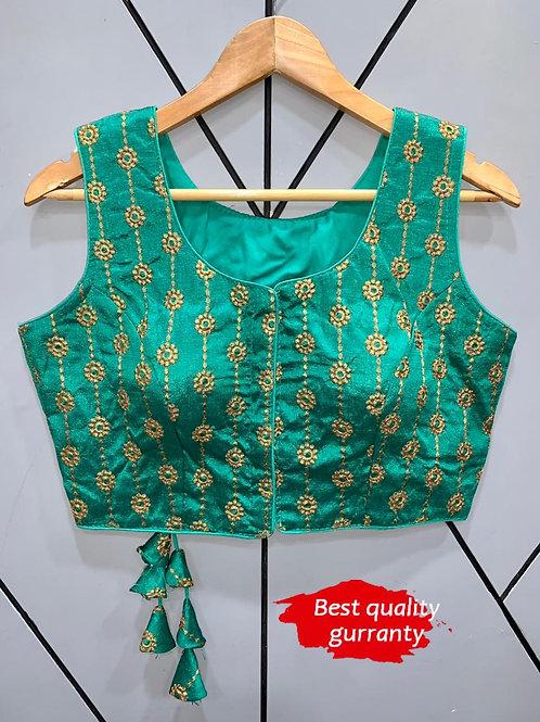 Designer Embroidery Fantom Silk L.Green Blouse
