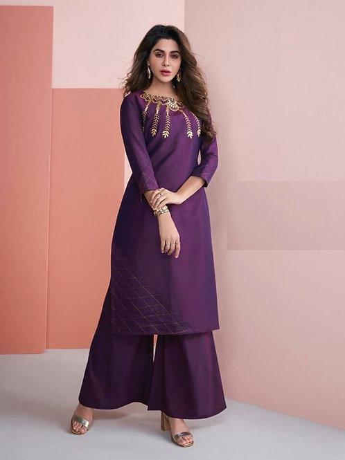 Viscos Silk Purple Kurti with Palazo