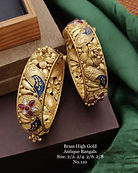 Brass High Gold Antique Bengles Blue Mee