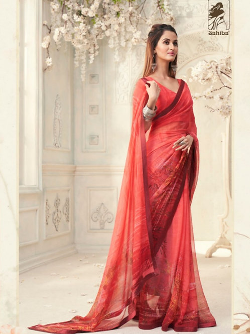 AASHI - Neon Red Georgette Saree with Lace