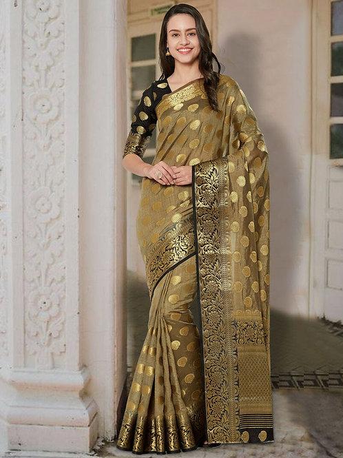 Goldy Gold Soft Silk Saree with Rich Pallu & Heavy Border