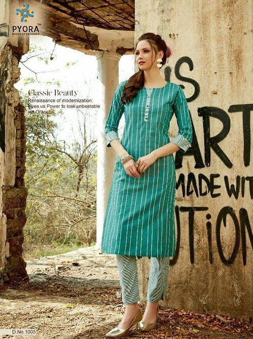 PYORA - Handloom Cotton Sky Kurti with Pants