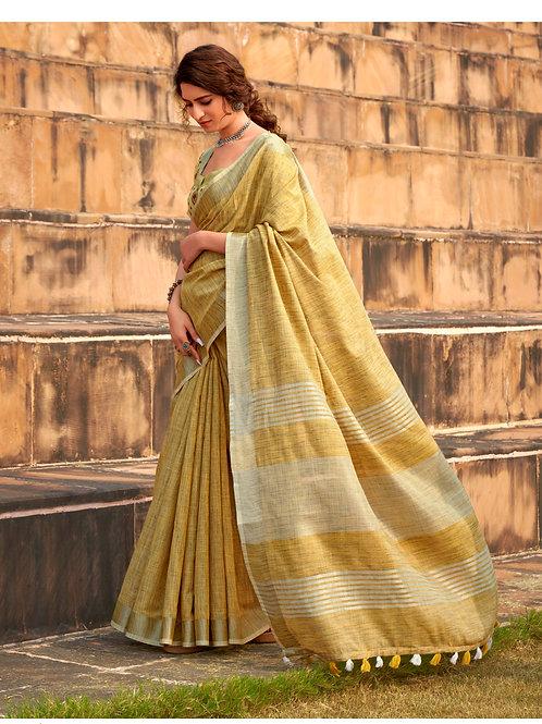 Abhirupi Soft Linen Khadi Silk Yellow Saree