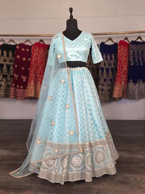 Dazzling Bright Blue Lucknowi Lehenga Choli with Dupatta & unstitched blo