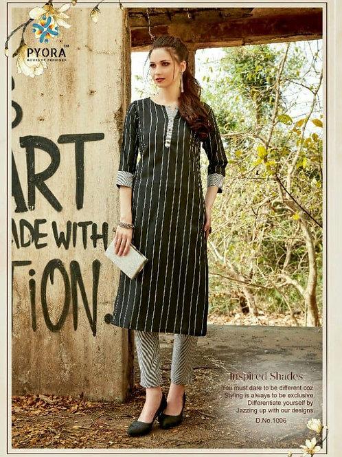 PYORA - Handloom Cotton Black Kurti with Pants