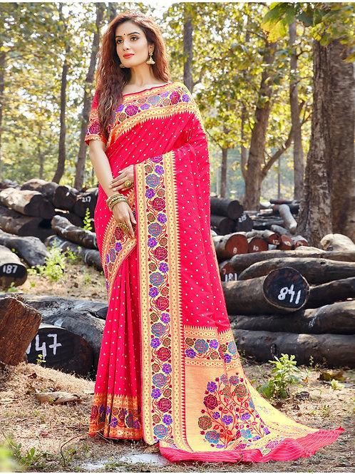 AARSHI - Pure Paithani Silk Megenta Saree