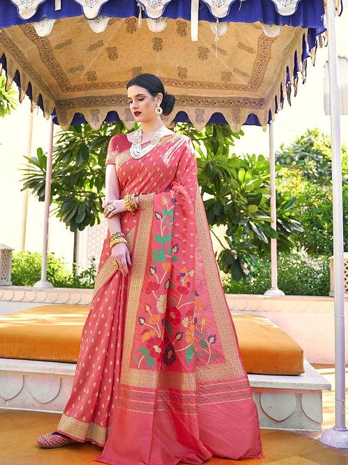 Royal Rajasthan Kollection Kawach Silk Neon Red Saree