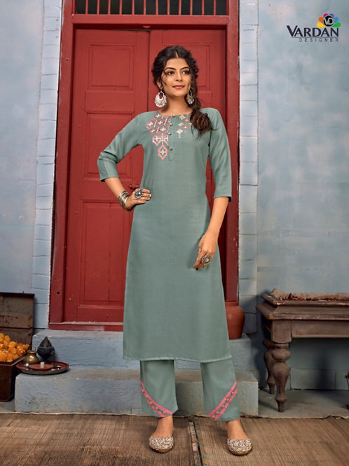 Summer Designer Collection Heavy Rayon Grey Kurti with Pant