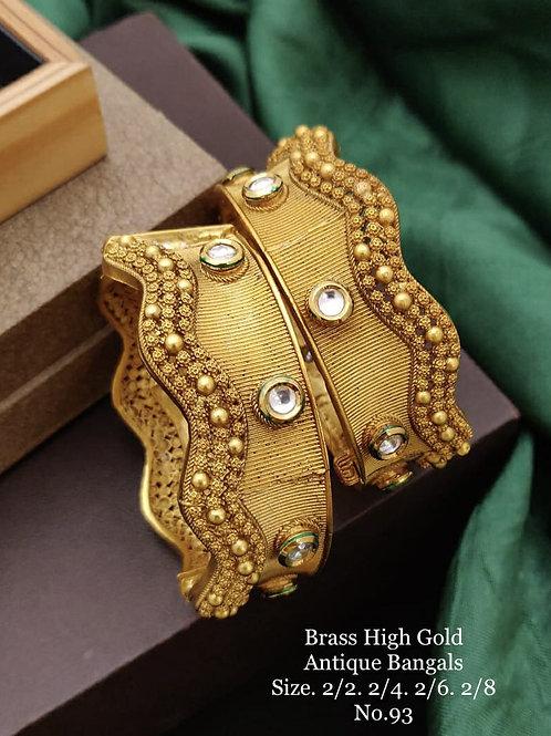 Brass High Gold Antique Bengles No 93