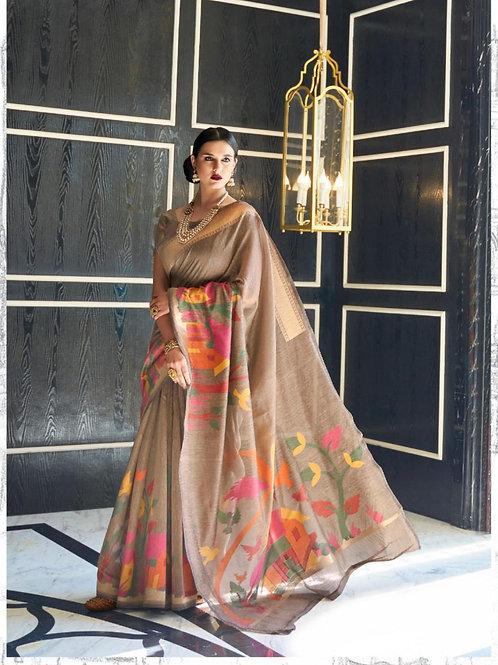 KRYON - Royal Brown Heavy Rayon Linen Saree