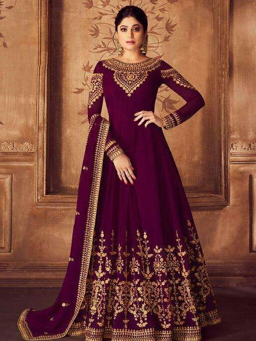 Phenominal Gorgeous Embroidered Wine Gown