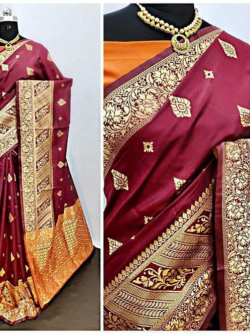 BHARATHI - Banarasi Soft Silk Saree Maroon