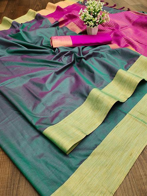 Cotton Silk Saree with Weaving Jari Border Double Rama