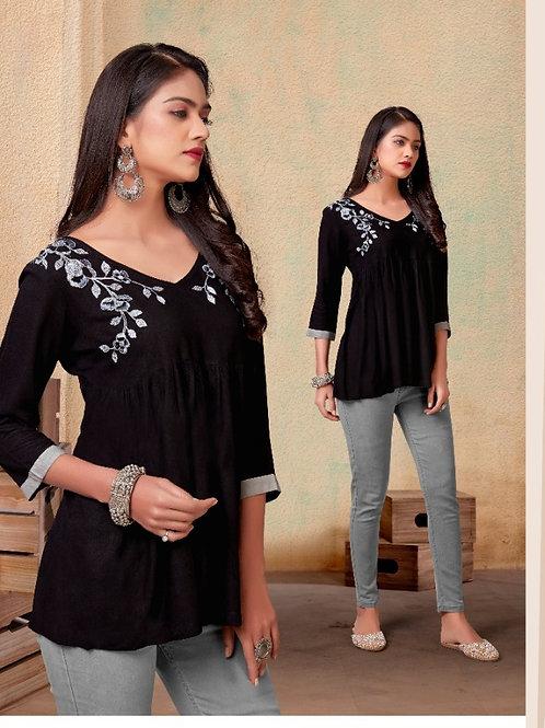 Fabulous Heavy Rayon Trendy Black Short Kurti