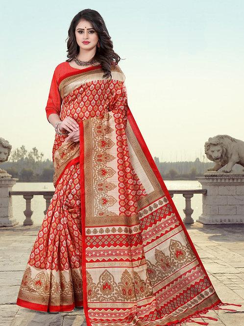 Stardom Mysore Silk Red Saree