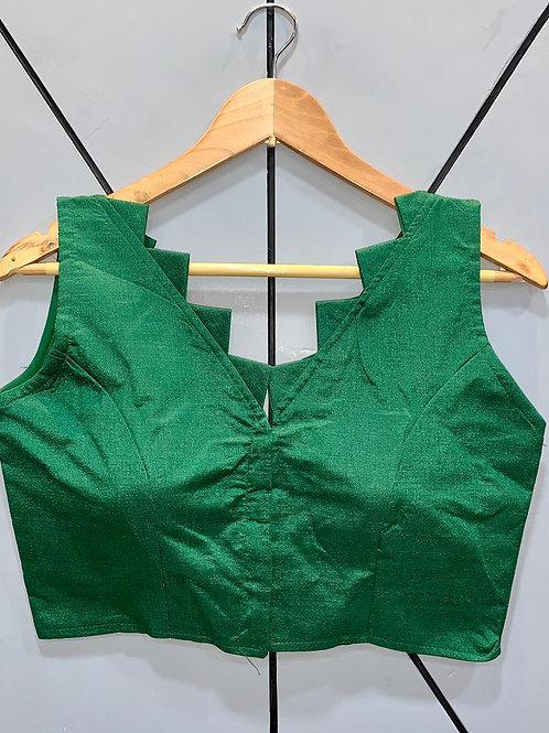 Designer Fantom Silk Step Cut Green Blouse