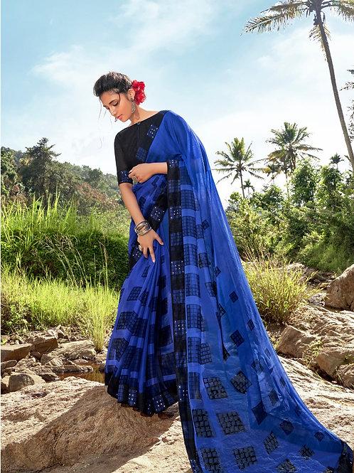 KASHVI - Royal Blue Chiffon Saree