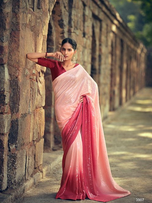 Sequence work Partywear Red Saree